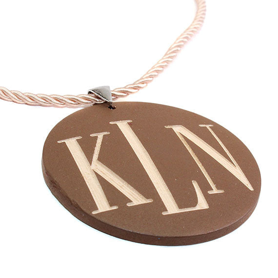 Monogrammed Round Brown Wood Necklace