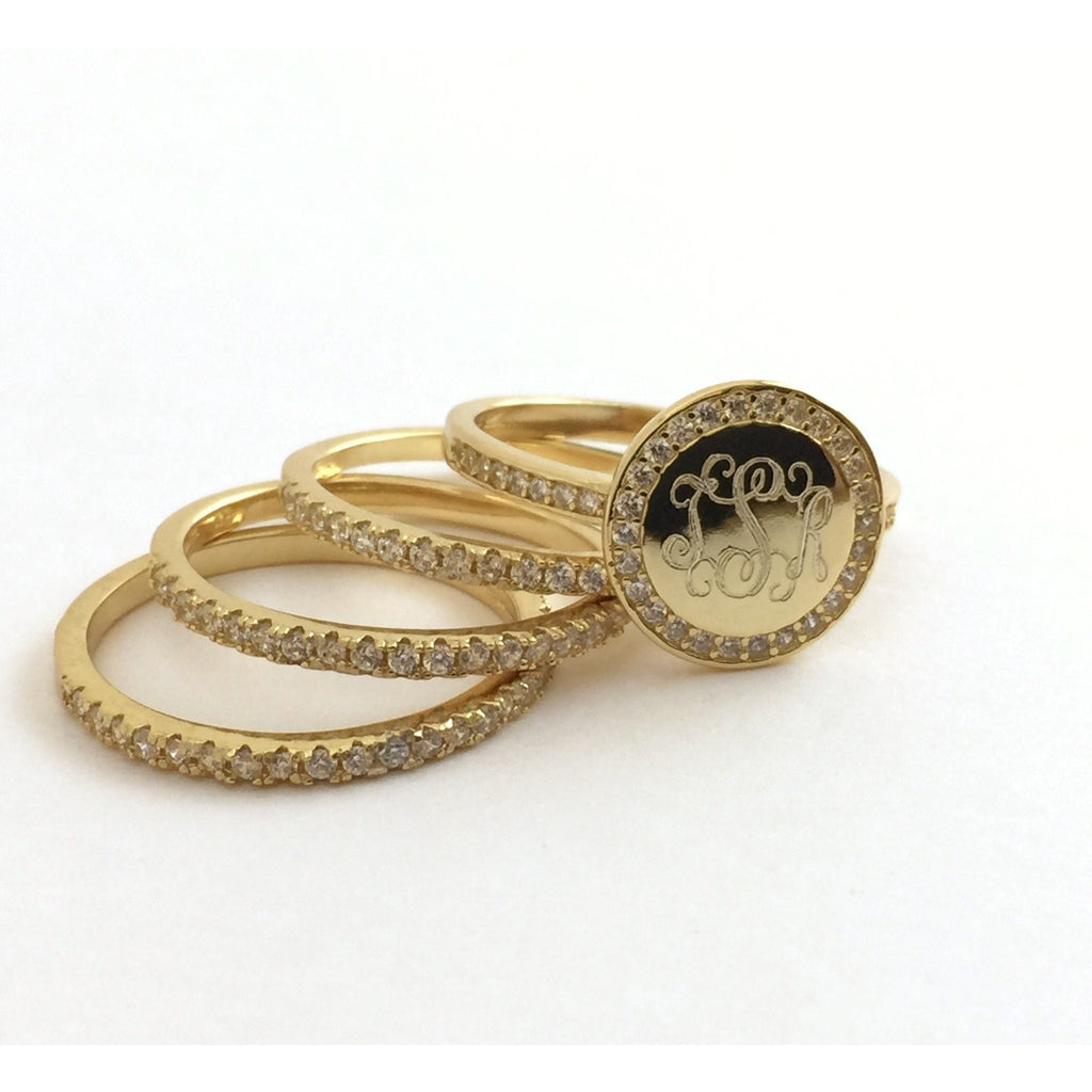 Gold CZ Rimmed Monogram Stacking Ring 4