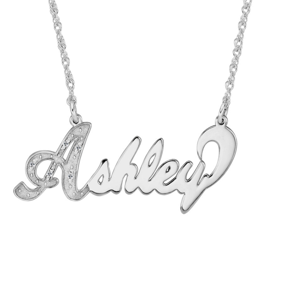 CZ Diamond Nameplate Necklace