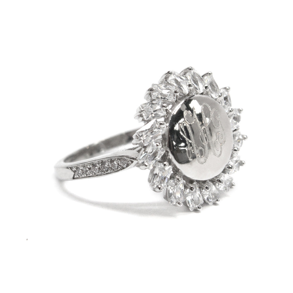 Sterling Silver CZ Monogram Sun Ring