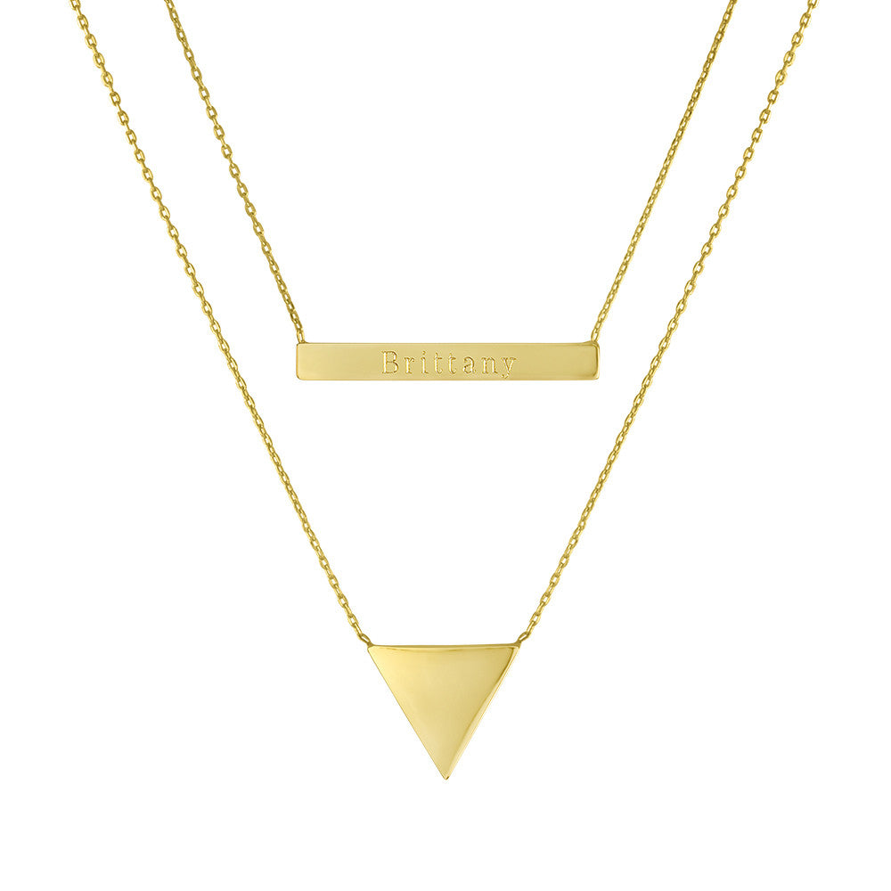 Personalized Gold Bar and Triangle Double Necklace