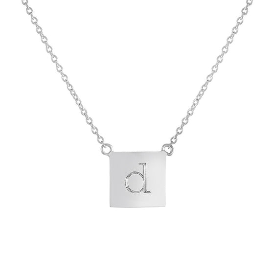 Personalized Square Lowercase Initial Necklace