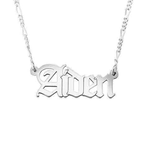 Gothic Name Necklace on Figaro Chain 3