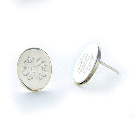Monogrammed Sterling Silver Oval Stud Earrings Alternate 1