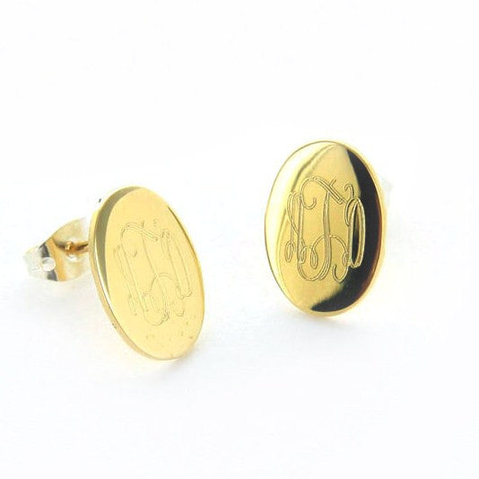 Personalized Gold Tone Oval Stud Earrings