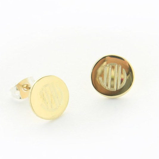 Personalized Gold Tone Round Stud Earrings