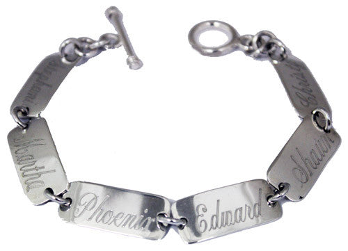 Monogrammed sterling silver 6 rectangle disc mothers bracelet