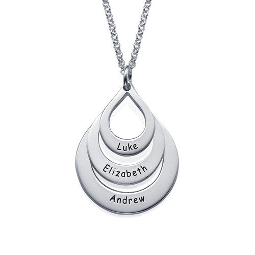 Engraved Family Drop Necklace