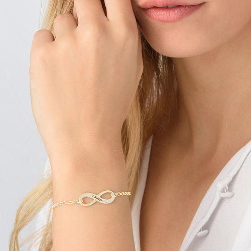 Gold Engraved Infinity Bracelet with Diamond 2