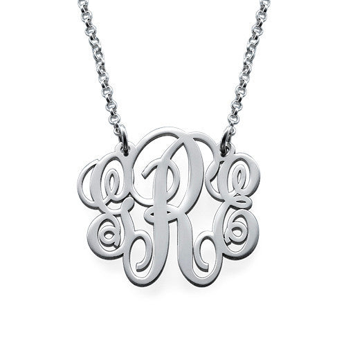 Small Fancy Script Monogram Necklace 3