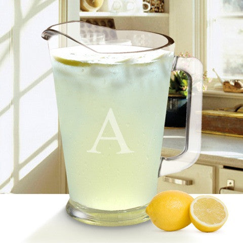 monogram glass pitcher