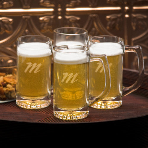 monogram beer mugs -set of four