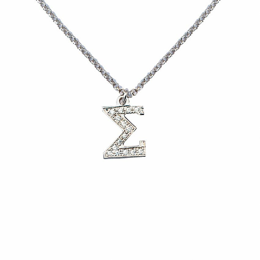 CZ Greek Letter Necklace