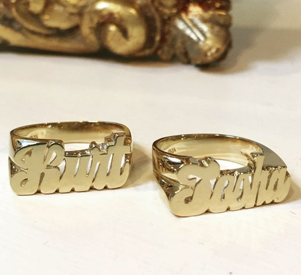 14K Gold Name Ring - Tosha and Kurt