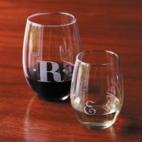 Monogram Stemless Wine Glasses - Red/White - Set of 4