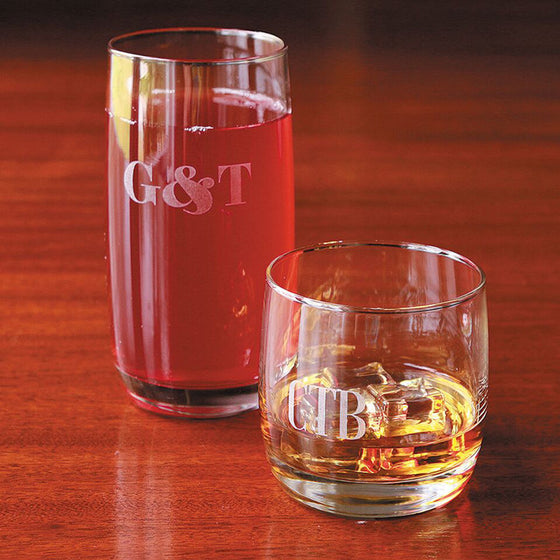 Monogram Highball/Lowball Glasses - Set of 4