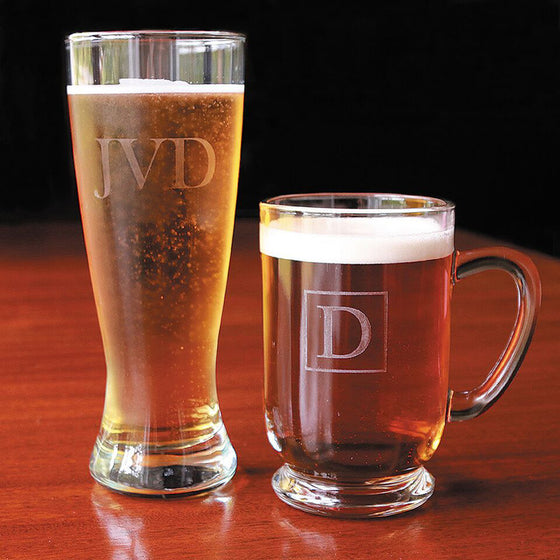 Monogram Beer Glasses - Set of 4