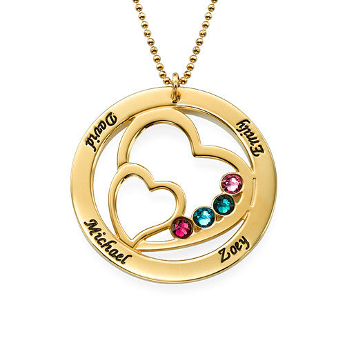 Personalized Hearts Mothers Necklace-Names and Birthstones