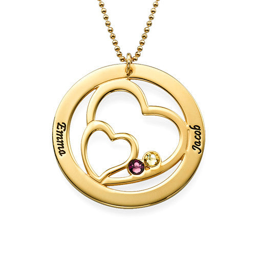 Personalized Hearts Mothers Necklace-Names and Birthstones 2
