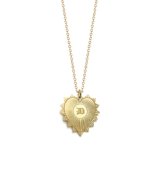Heart Medallion Gothic Initial Necklace