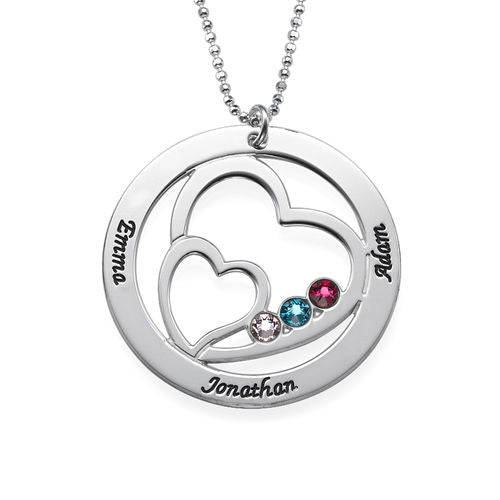Personalized Hearts Mothers Necklace-Names and Birthstones 5