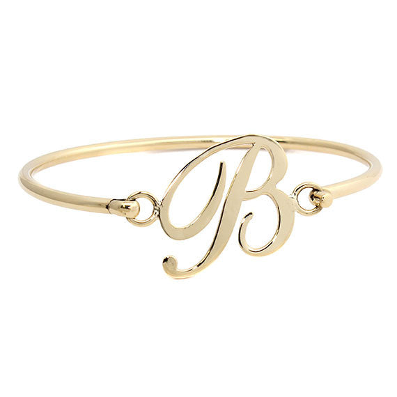 Personalized Gold Initial Bangle Bracelet 2