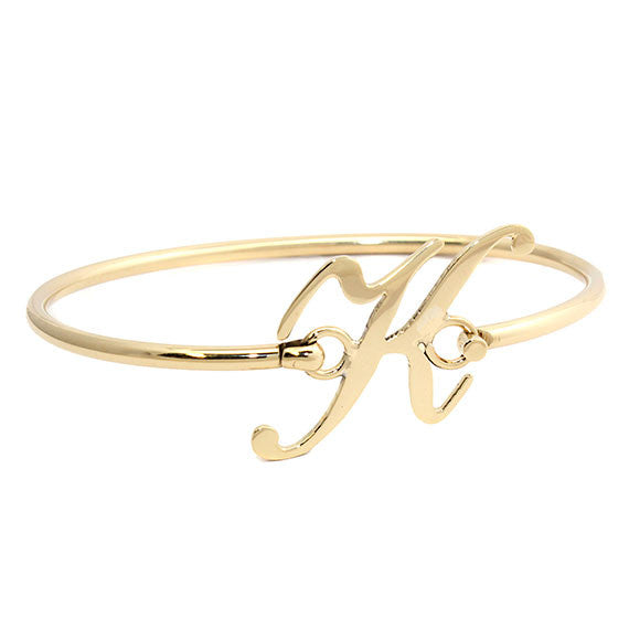 Personalized Gold Initial Bangle Bracelet 9