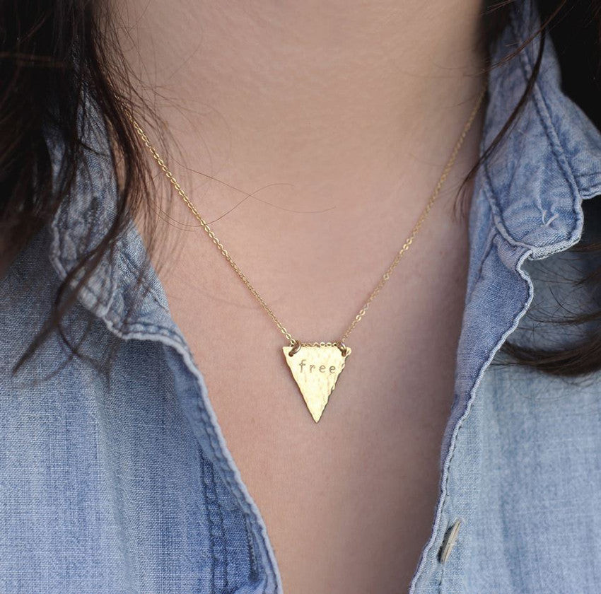 Hand Stamped Triangle Necklace