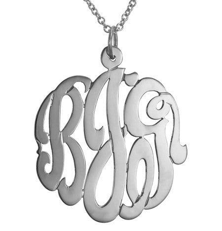 Sterling Silver Cutout Monogram Necklace Alternate 1