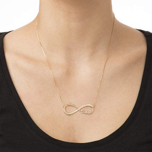 a888eed9e98e 14K Solid Gold Infinity Two Name Necklace - Be Monogrammed
