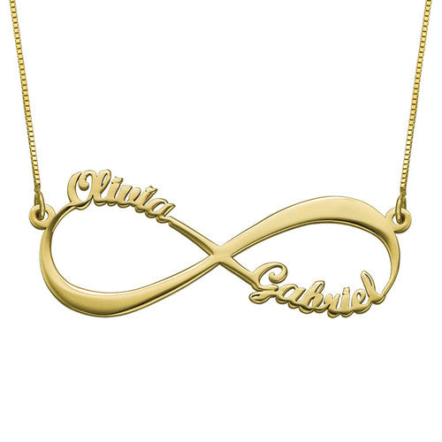 14K Solid Gold Infinity Two Name Necklace