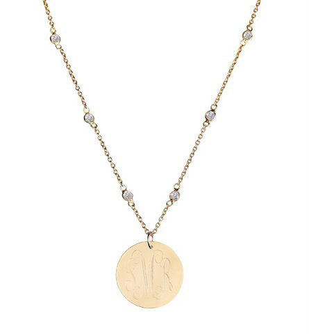 Gold Engraved Disc On Cubic Zirconia Necklace Alternate 1