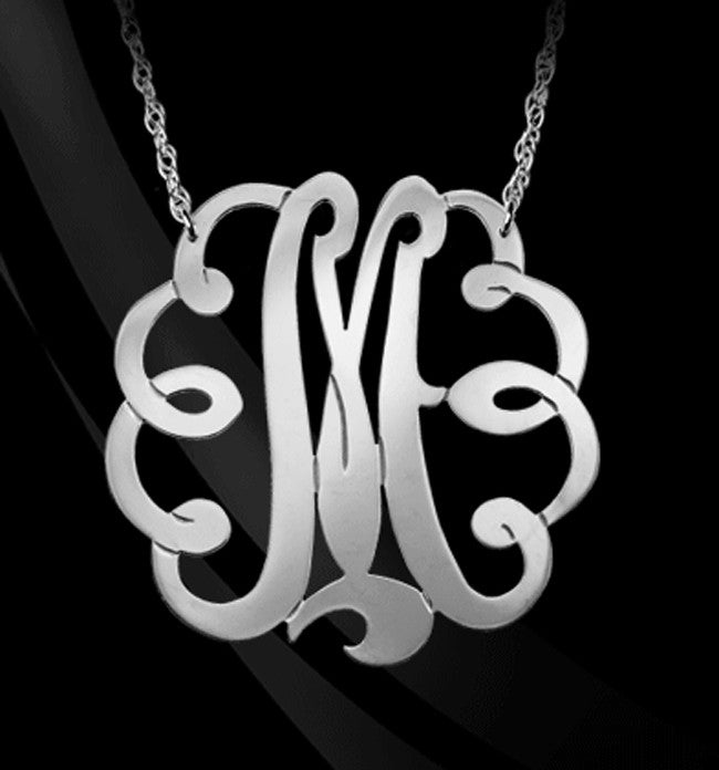 Sterling Silver Swirly Initial Monogram Necklace
