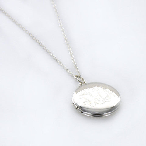 Personalized Round Silver Plated Locket Necklace