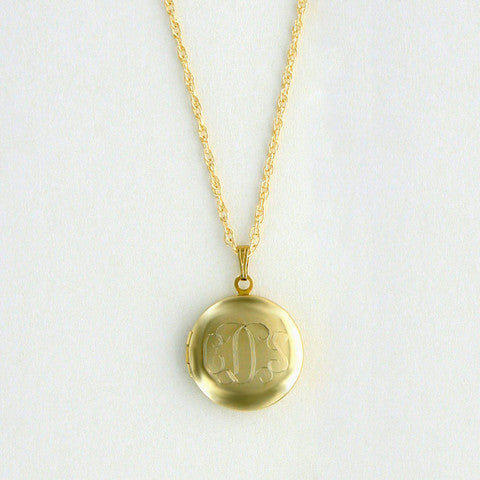 Personalized Round Gold Locket Necklace