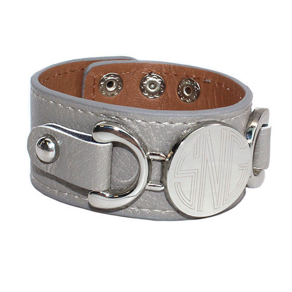 heather grey leather bracelet-silver monogram disc