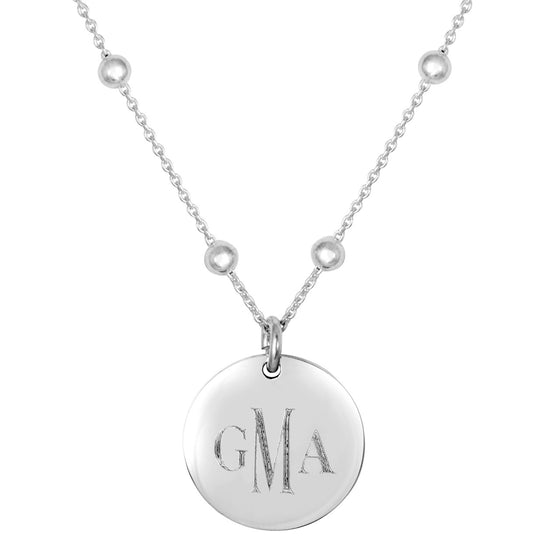 Personalized Engraved Round Disc on Bead Chain