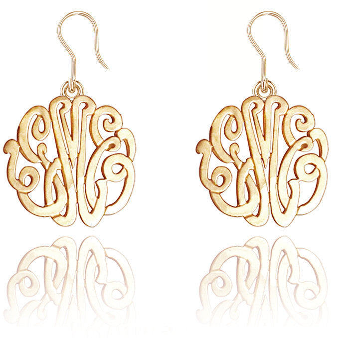 24K Gold Plated Monogram Dangle Earrings
