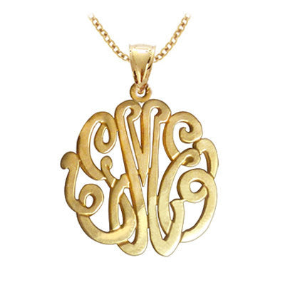 24K Gold Plated Script Monogram Necklace