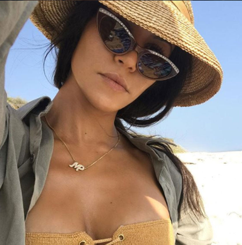 Two Initial CZ Necklace - Kourtney Kardashian 2