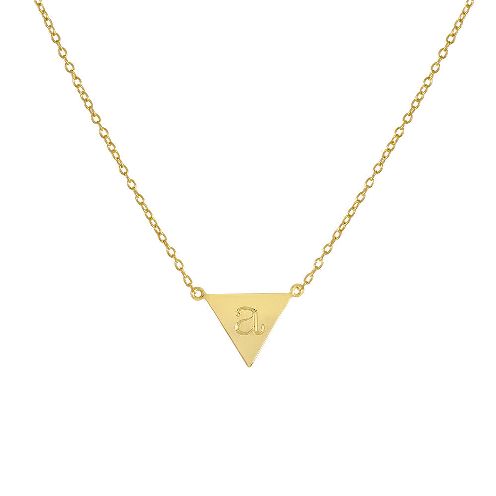 Personalized Upside Down Triangle Initial Necklace 2