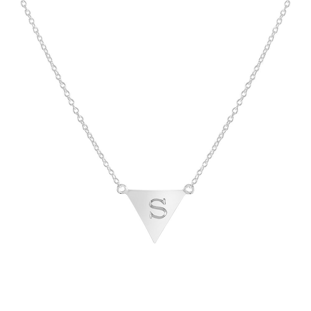 Personalized Upside Down Triangle Initial Necklace