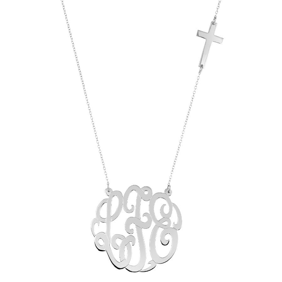 Silver Monogram With Sideways Cross Necklace