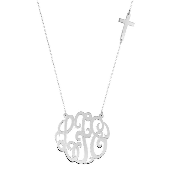 Sterling Silver Monogram And Sideways Cross Necklace