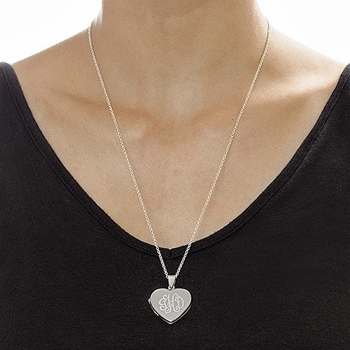 Personalized Sterling Silver Heart Locket Necklace 2