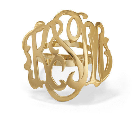 Large Gold Script Monogram Domed Ring