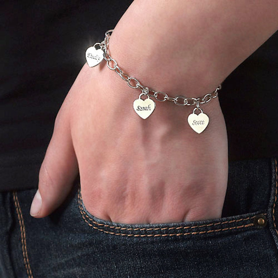Sterling Silver Personalized Mothers Heart Charm Bracelet 2