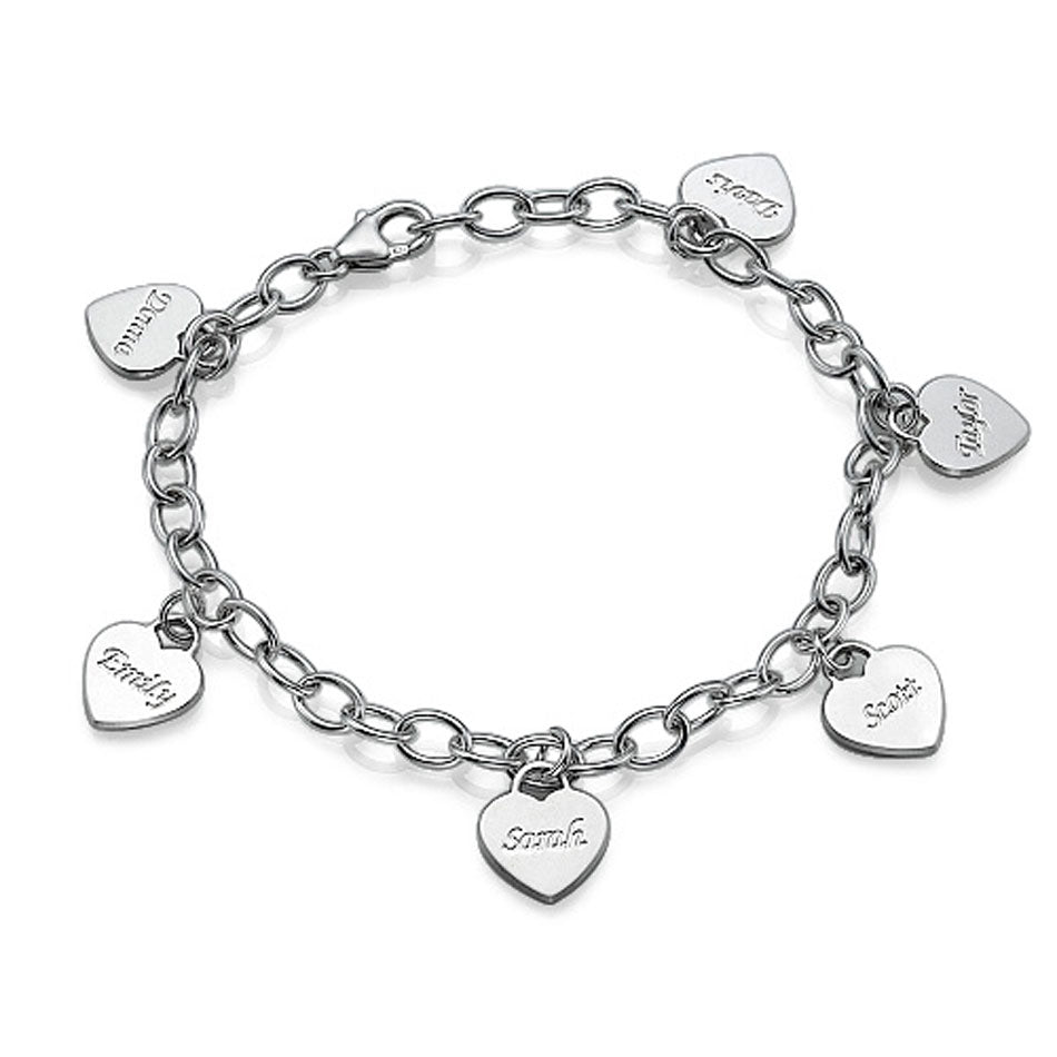 Sterling Silver Personalized Mothers Heart Charm Bracelet