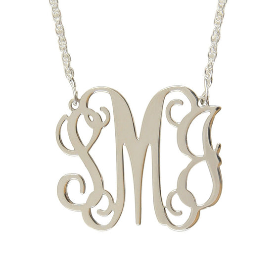 Sterling Silver Filigree Monogram Split Chain Pendant