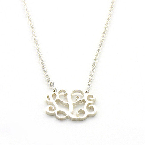 Sterling Silver Petite Filigree Monogram Split Chain Pendant